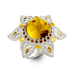 R1062C Faceted Dome Yellow Citrine Set in Argenitum Sterling Silver with Gold Ring